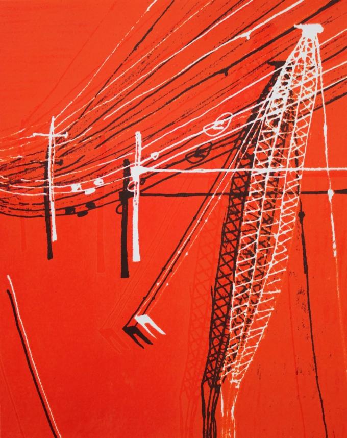 Crane Landscape red