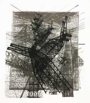 """8/8, """"Invasion"""" from the series """"Structures of Gentrification"""", serigraphy, 21 x 21 inches, 2018"""